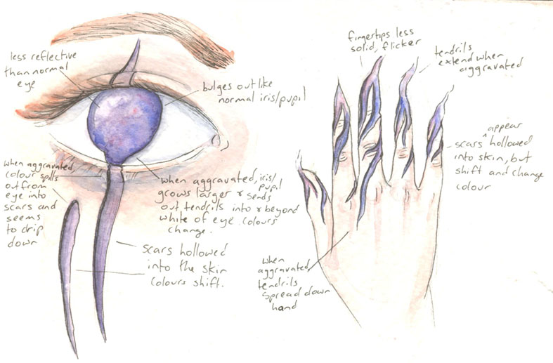 Closeup of Kate's hand and eye